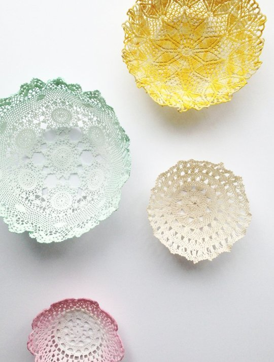 diy lace Colourful Doily Bowls
