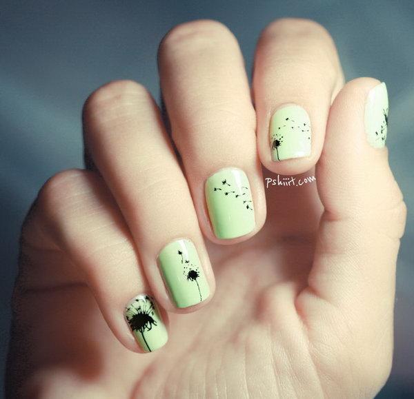 15 cute dandelion nail art ideas and tutorials 15 prinsesfo Gallery
