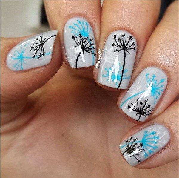 Gray Home Design Ideas: 15 Cute Dandelion Nail Art Ideas And Tutorials