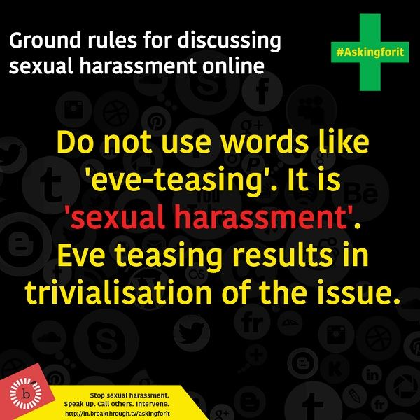 Dont use the word eve-teasing
