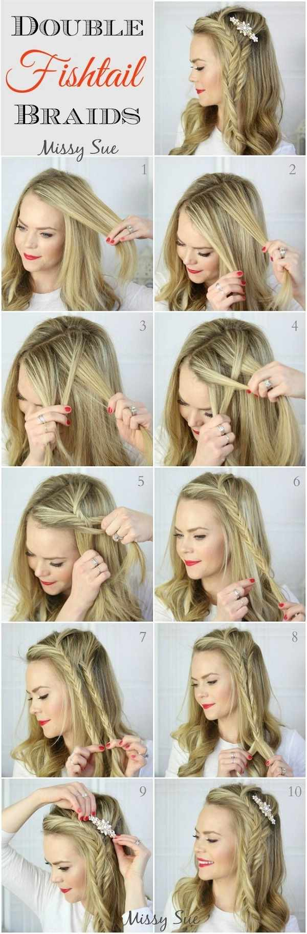 Double Fishtail Side Braid Hairstyle Tutorial