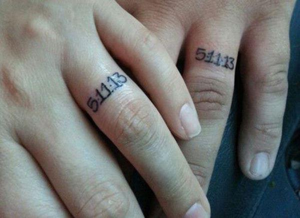 Wedding date on ring finger