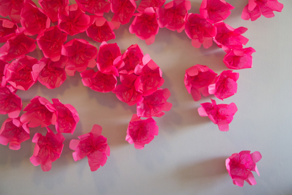 scattered paper flowers