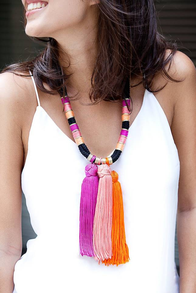summer tassel diy necklace