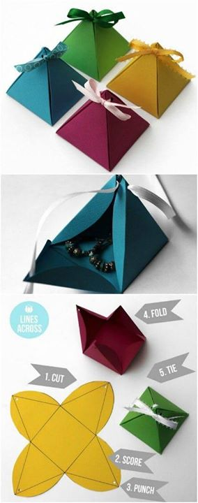 Hard Paper Pyramids With Ribbons