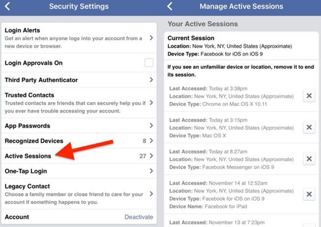 Facebook Hacks - Active Sessions