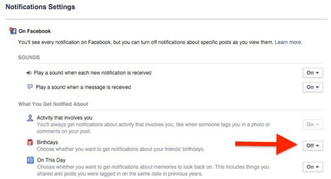 Facebook hacks - Turn off birthday notifications