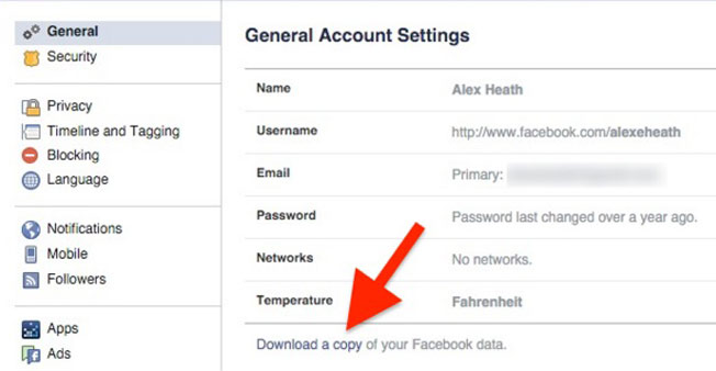 Facebook hacks - Download your data