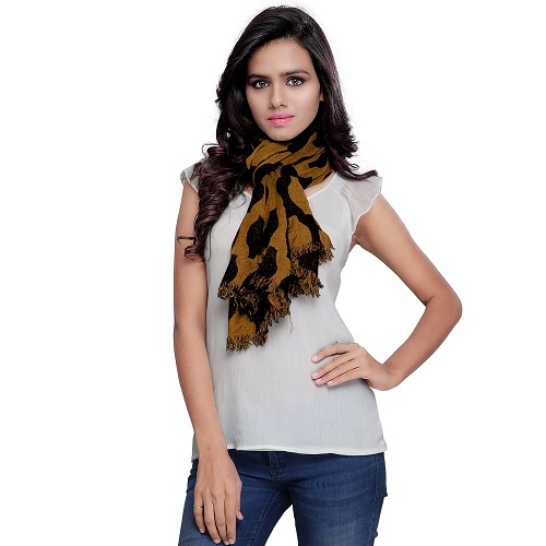 Beige Coloured Nylon Scarf