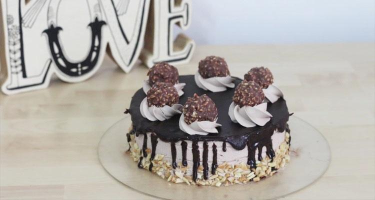 Simple Yet Delicious Eggless Ferrero Rocher Ice Cream Cake