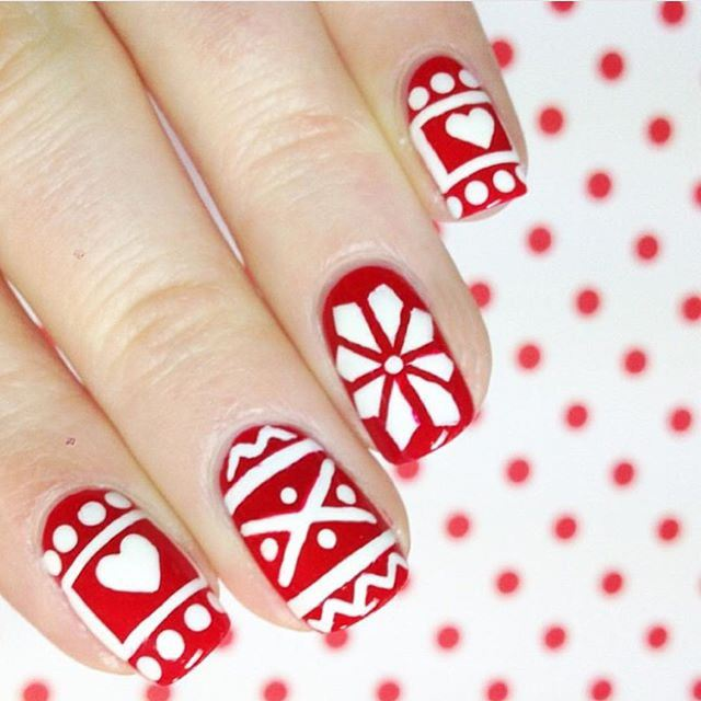 white pattern nails