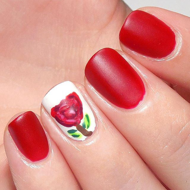 rose & matte red nail art designs