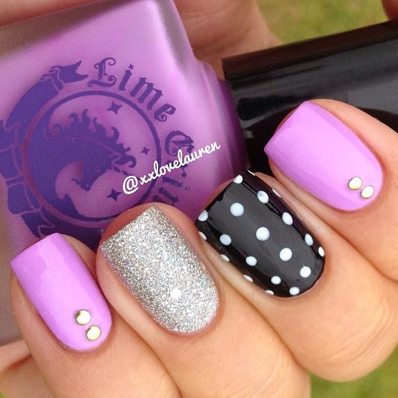 50 different polka dots nail art ideas that anyone can diy adding style to your nail design can be this easy too prinsesfo Image collections