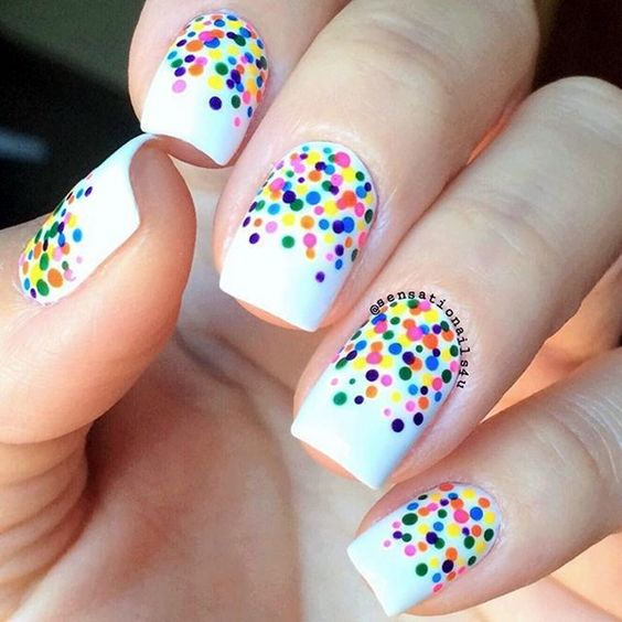50 different polka dots nail art ideas that anyone can diy adorable vibrant colors polka dots on white base nail art prinsesfo Gallery