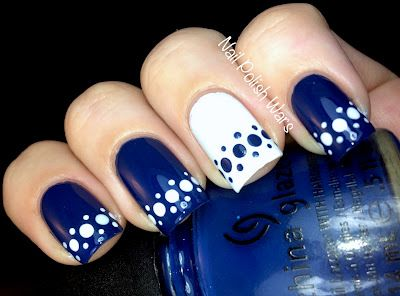 50 different polka dots nail art ideas that anyone can diy beautiful blue and white arranged dots design prinsesfo Gallery