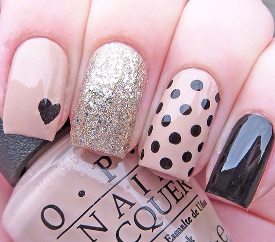 50 different polka dots nail art ideas that anyone can diy classy nail art with polka dots and glitter prinsesfo Gallery