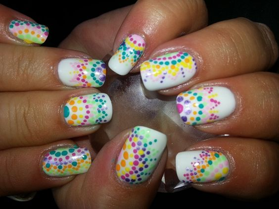 Colorful polka dots nail art design - 50 Different Polka Dots Nail Art Ideas That Anyone Can DIY
