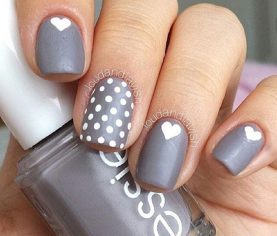 Cute and easy dots and hearts nail art - 50 Different Polka Dots Nail Art Ideas That Anyone Can DIY
