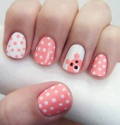 Cute bear and dots design - 50 Different Polka Dots Nail Art Ideas That Anyone Can DIY