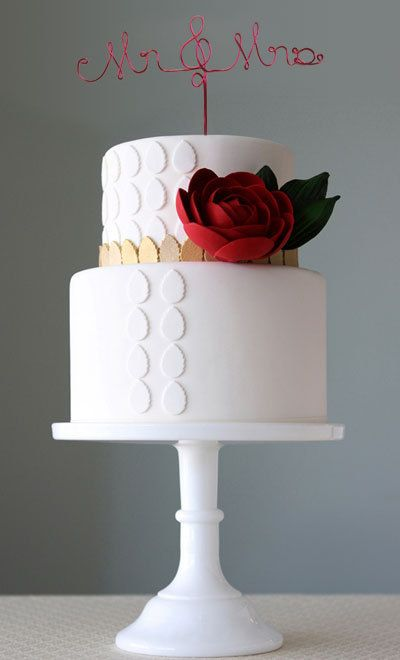 Mr and Mrs Wedding Cake with a rose
