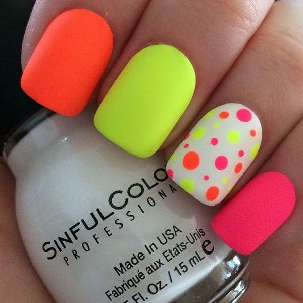 Neon Polka dots on a white nail - 50 Different Polka Dots Nail Art Ideas That Anyone Can DIY