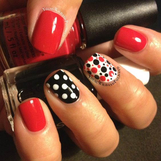 Polka dots nail art with red and black nails - 50 Different Polka Dots Nail Art Ideas That Anyone Can DIY