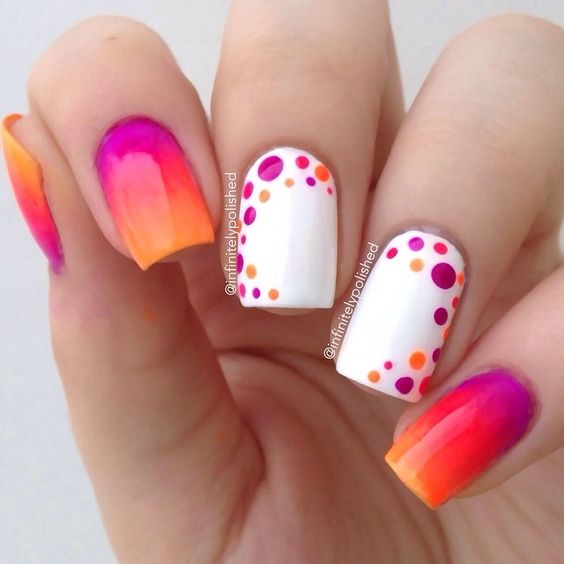 Pretty orange and pink shade and polka dots nail art - 50 Different Polka Dots Nail Art Ideas That Anyone Can DIY