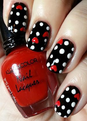 Romantic black with white polka dots and red hearts