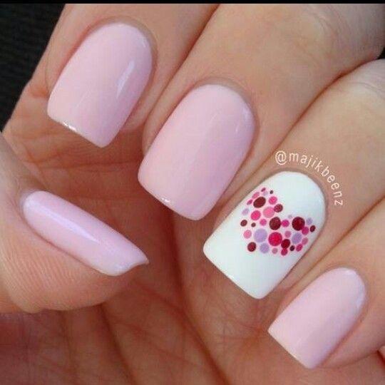 Romantic heart nail art