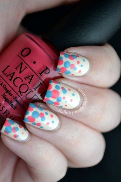 50 different polka dots nail art ideas that anyone can diy spring time polka dot nail art prinsesfo Choice Image