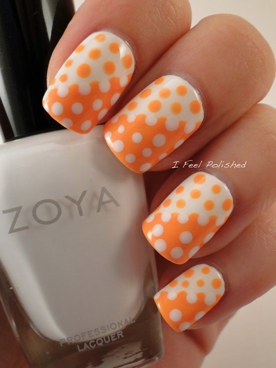 50 different polka dots nail art ideas that anyone can diy two shades base with dots nail art prinsesfo Images