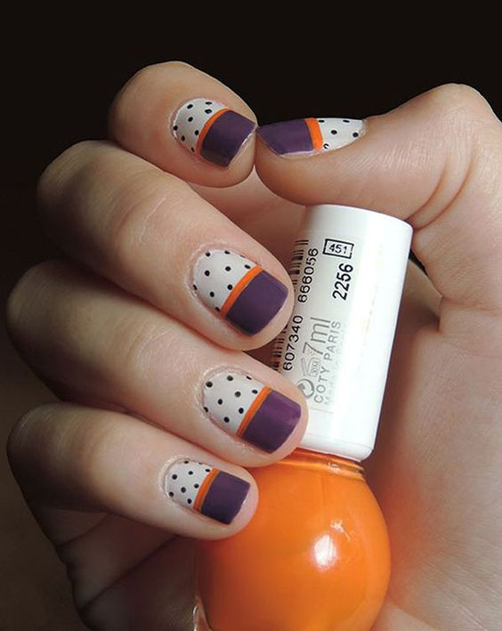 Urban jungle as base with black stripe and polka dots nail art - 50 Different Polka Dots Nail Art Ideas That Anyone Can DIY