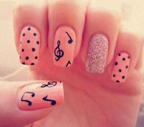 50 different polka dots nail art ideas that anyone can diy beautiful nail art design with polka dots glitter and music notes prinsesfo Image collections