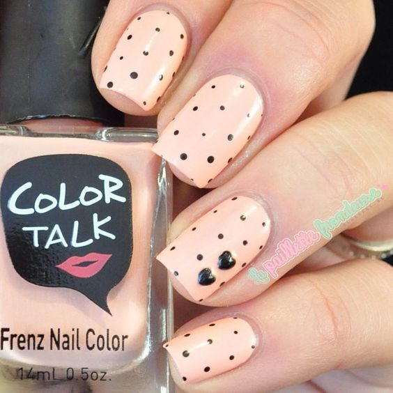 Little dots nail design. - 50 Different Polka Dots Nail Art Ideas That Anyone Can DIY