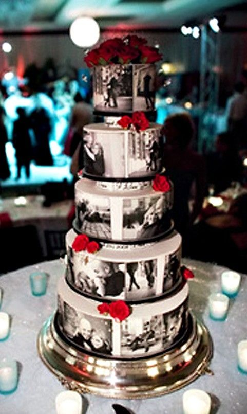 wedding cake with photos