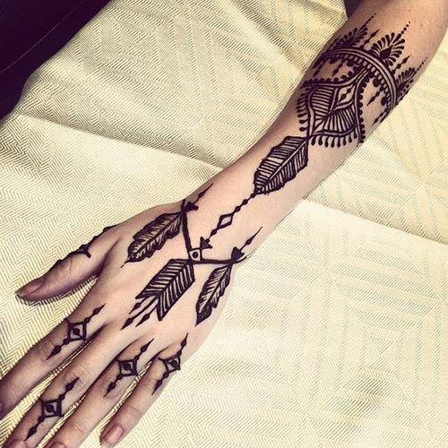 Henna-tattoo-of-feather-design