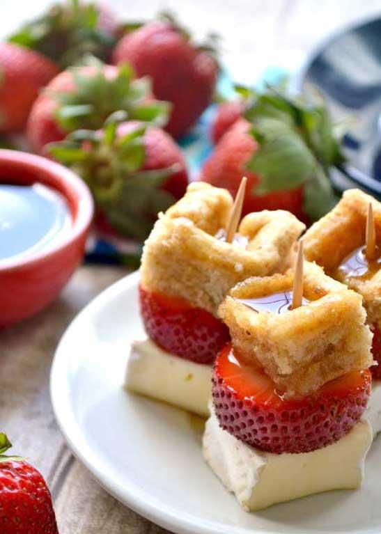 Strawberry-Brie-Waffle-Bites