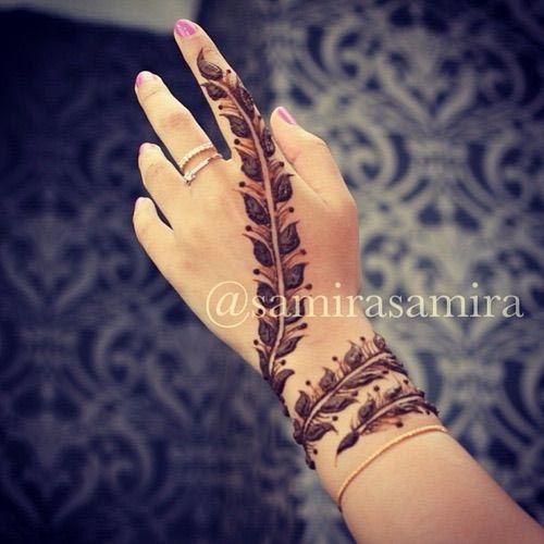 Mehndi Designs For Wrist : Beautiful feather henna designs you will love to try