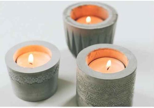 Cement candle holders designed with lace