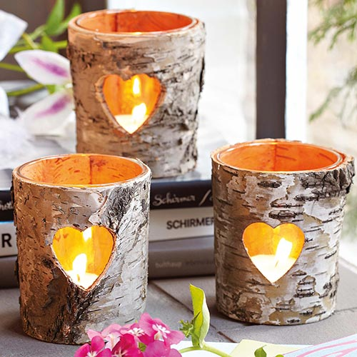 birch bark candle holder