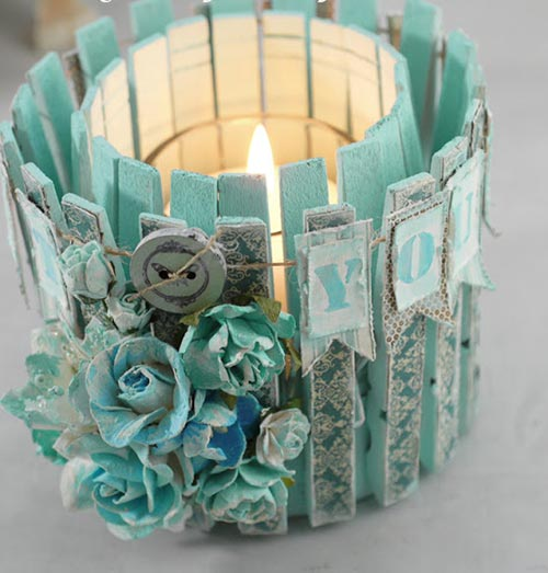 candle holder from clothesline clip