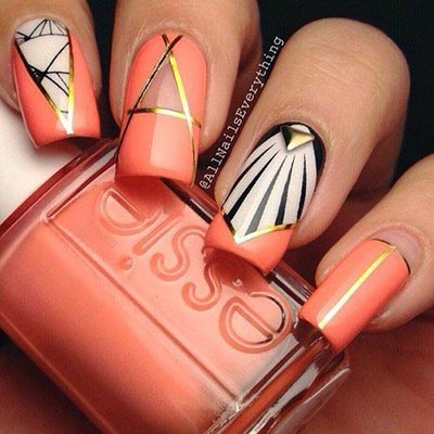 Chic nail art design with gold strip