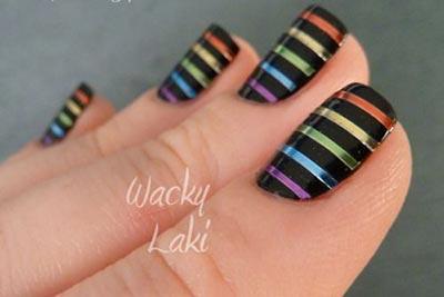 Colored tape nail design