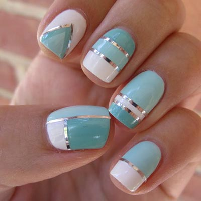 Pastel color and strip nail art