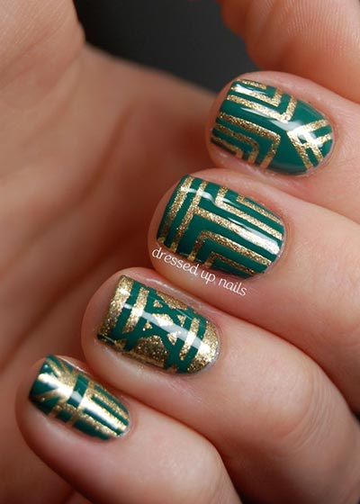 stripped patterns with gold polish