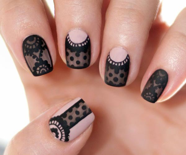 Cute black lace design nails