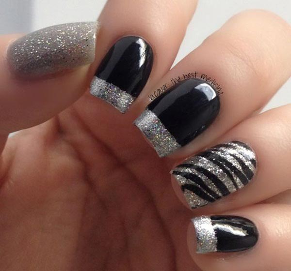 Sparkling nail art with black polish