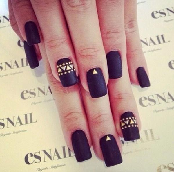 Square black and gold embellishment nail art