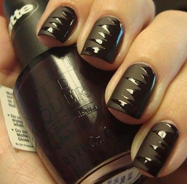 Sexy matte and glossy black nail design
