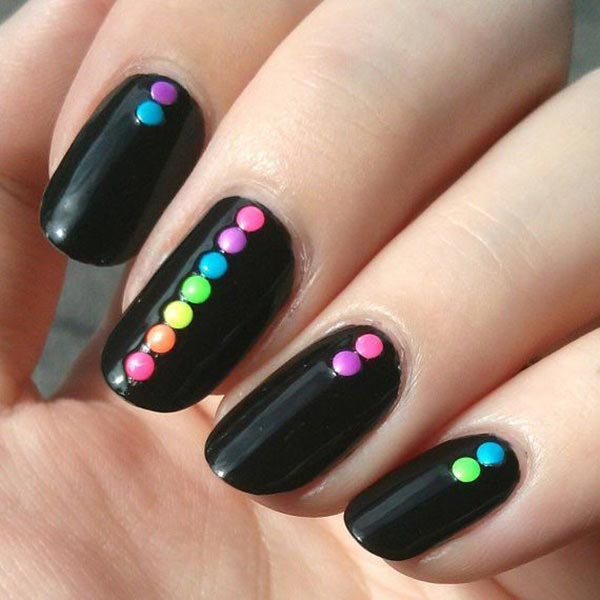 Colourful dots on black base